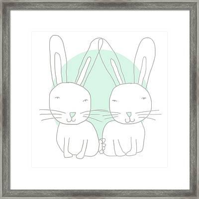 Two Bunnies- Art By Linda Woods Framed Print by Linda Woods