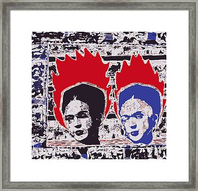 Two Burning Frida Kahlos Framed Print by F Burton