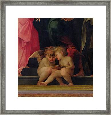 Two Cherubs Reading Detail From Madonna And Child With Saints Framed Print by Giovanni Battist Rosso Fiorentino