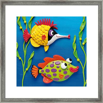 Two Clay Art Tropical Fish Framed Print by Amy Vangsgard