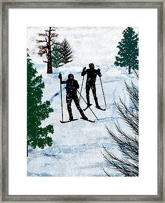 Two Cross Country Skiers In Snow Squall Framed Print by Elaine Plesser