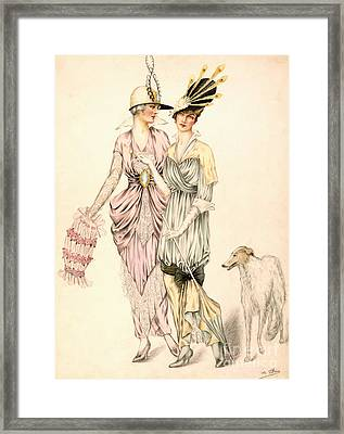 Two Dresses For The Goodwood Races Framed Print by English School