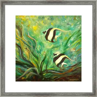 Two Fish Framed Print by Gina De Gorna
