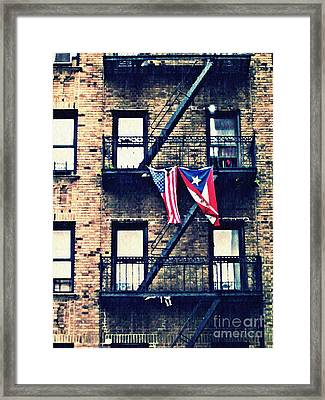 Two Flags In Washington Heights Framed Print by Sarah Loft