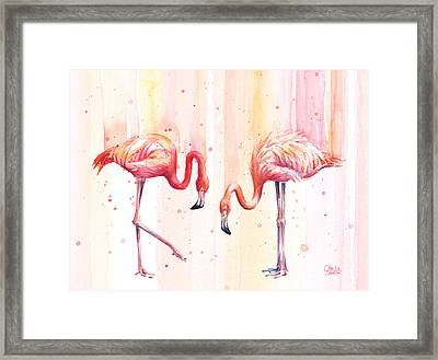 Two Flamingos Watercolor Framed Print by Olga Shvartsur