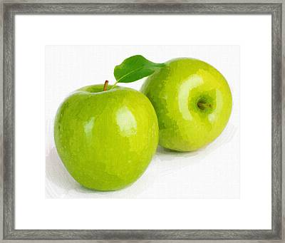 Two Green Apple Fruits Isolated On White Background Framed Print by Lanjee Chee