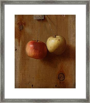 Two Hanging Apples Framed Print by Mountain Dreams