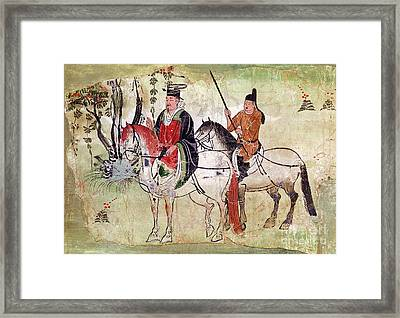 Two Horsemen In A Landscape Framed Print by Chinese School
