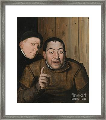 Two Jesters Framed Print by Flemish School