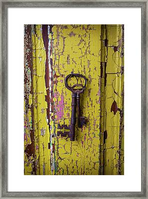 Two Keys On Yellow Door Framed Print by Garry Gay