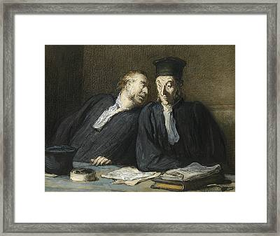 Two Lawyers Conversing Framed Print by Honore Daumier
