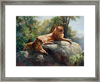 Two Lions - Forever And Always Together Framed Print by Svitozar Nenyuk