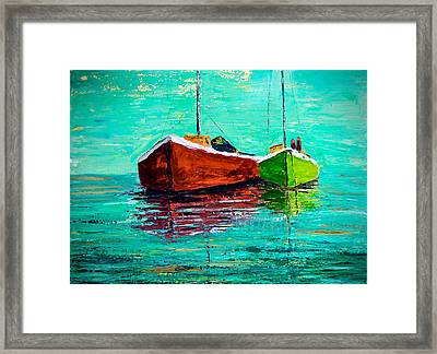 Limited Edition Two Masted Sailboats Framed Print by Julia S Powell