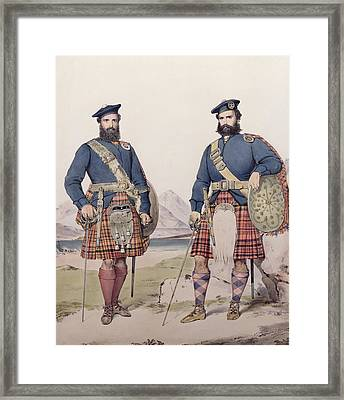 Two Men In Highland Dress Framed Print by Kenneth Macleay