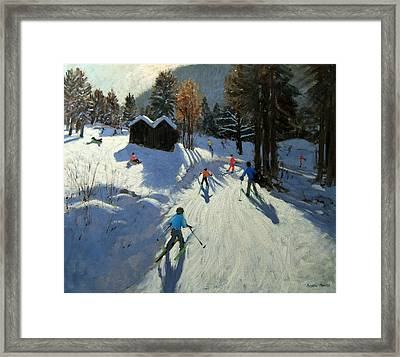 Two Mountain Huts Framed Print by Andrew Macara