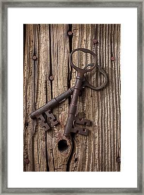 Two Old Skeletons Keys Framed Print by Garry Gay