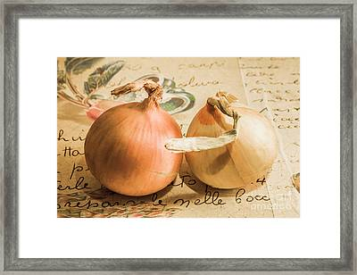 Two Onions On Recipe Paper Framed Print by Jorgo Photography - Wall Art Gallery