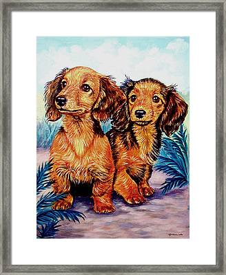 Two Peas In A Pod - Dachshund Framed Print by Lyn Cook
