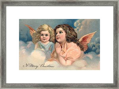 Two Praying Christmas Angels Framed Print by American School