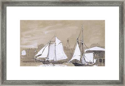 Two Schooners Framed Print by Winslow Homer