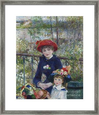 Two Sisters Or On The Terrace Framed Print by Pierre Auguste Renoir