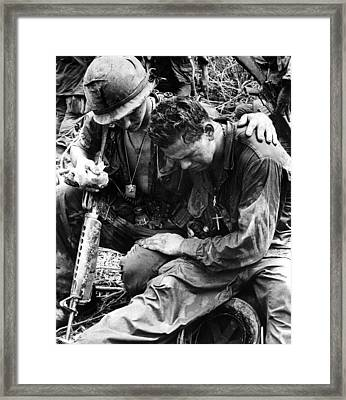 Two Soldiers Comfort Each Other Framed Print by Everett