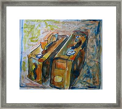 Two Suitcases With Financial Statements Framed Print by Tilly Strauss