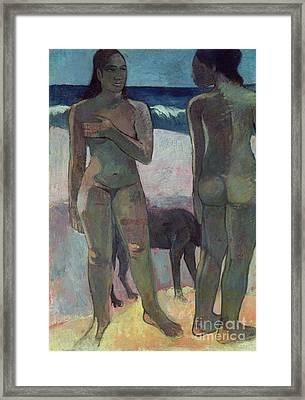 Two Tahitian Women On The Beach Framed Print by Paul Gauguin