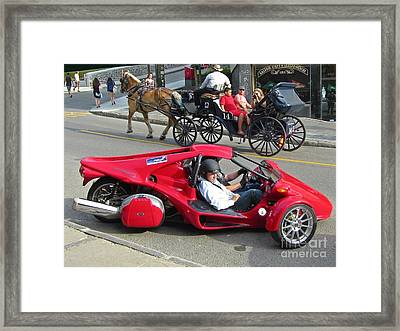 Two Totally Different Types Of Horsepower Framed Print by John Malone