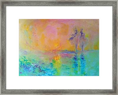 Two Trees In Sunset Framed Print by Demeter Gui