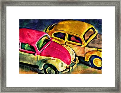 Two Volkswagens Framed Print by Jeff  Gettis
