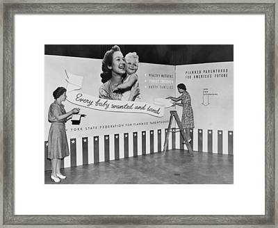 Two Women Working On Panels For Exhibit Framed Print by Everett