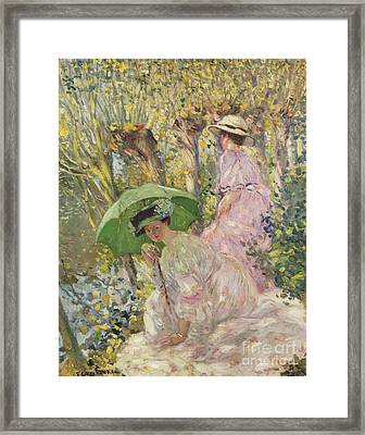 Two Young Girls In A Garden Framed Print by Frederick Carl Frieseke