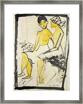 Two Young Girls Framed Print by Otto Muller