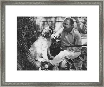 Ty Cobb With His Dog Framed Print by Underwood Archives