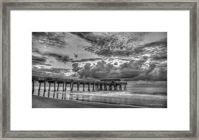 Tybee Island Pier Sunrise Cloud Cover Framed Print by Reid Callaway