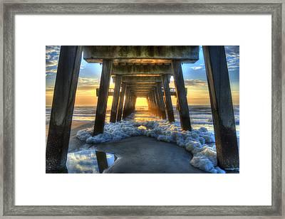 Tybee Island Pier Sunrise Sea Foam Framed Print by Reid Callaway