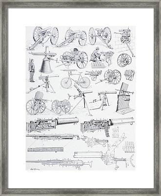 Types Of Machine Guns And Their Framed Print by Vintage Design Pics