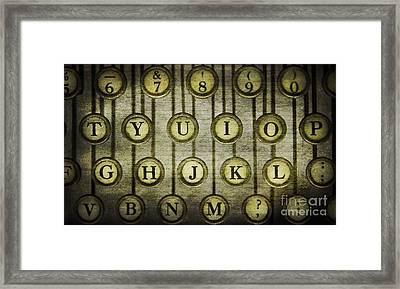 Typewriter Keys Framed Print by Cindi Ressler