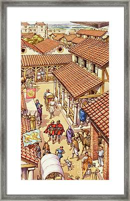 Typical London Street In Roman Times Framed Print by Pat Nicolle