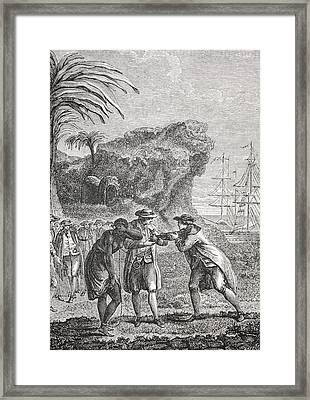 Typical Slave Trading Scene In The 18th Framed Print by Vintage Design Pics