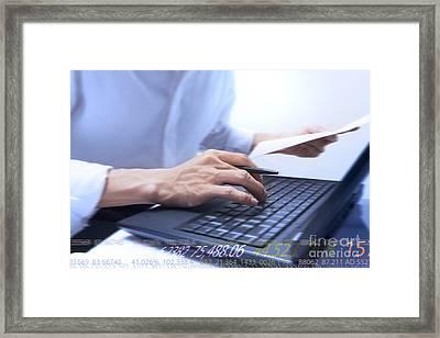 Typing Framed Print by Atiketta Sangasaeng