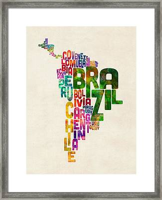 Typography Map Of Central And South America Framed Print by Michael Tompsett