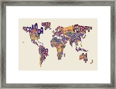 Typography Text Map Of The World Map Framed Print by Michael Tompsett