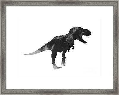 Tyrannosaurus Figurine Watercolor Painting Framed Print by Joanna Szmerdt