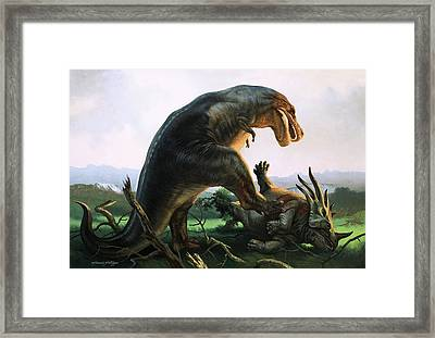 Tyrannosaurus Rex Eating A Styracosaurus Framed Print by William Francis Phillipps