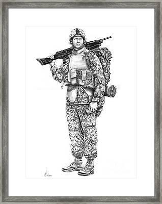 U S Marine Framed Print by Murphy Elliott