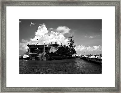 U S S John C Stennis In Port Framed Print by Mountain Dreams