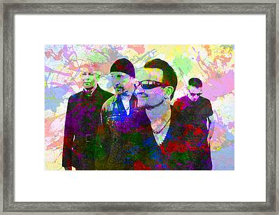 U2 Band Portrait Paint Splatters Pop Art Framed Print by Design Turnpike