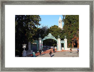 Uc Berkeley . Sproul Plaza . Sather Gate And Sather Tower Campanile . 7d10025 Framed Print by Wingsdomain Art and Photography